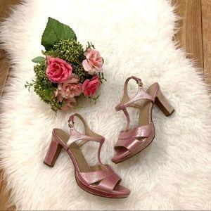 Metallic Pink NATURALIZER Heeled Platform Sandals